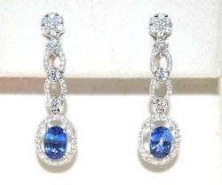 18kt White Gold Blue Sapphire & Diamond Earrings