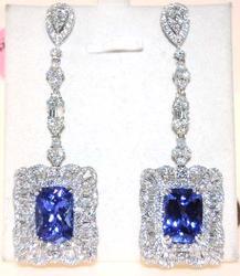 9 ctw Tanzanite & 5 ctw Diamond Earrings