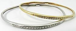 White & Yellow Gold Pair of Diamond Bangle Bracelets