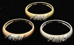14k tri color Lot of Pave set Diamond Rings in Yellow & White Gold