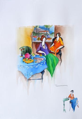 Original Signed Itzchak Tarkay Watercolor