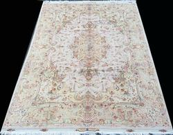 Beautiful & Lustrous Part Silk Authentic Fine Persian Tabriz, Signed
