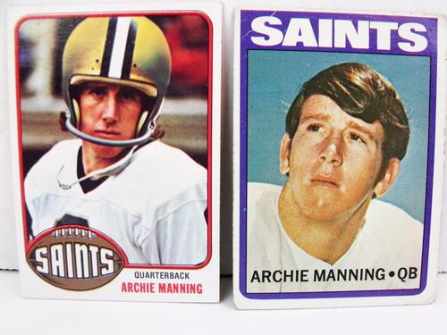 2 Archie Manning Topps Football Cards