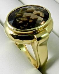 Large 14kt Gold Smokey Topaz Ring
