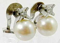 18k White Gold Pearl & Diamond Earrings