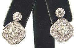 Dangle Cluster Earrings w/ Bezel Set Diamond Top 2.0CTW