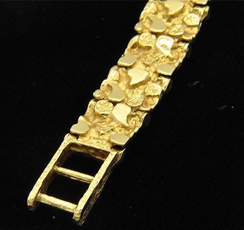 mens 14kt gold nugget style bracelet usauctiononlinecom
