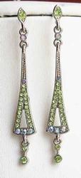 Pretty, Light Green & AB Blue on Silver Plated, Dangling Earrings