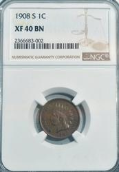 1908-S Indian Head Cent in NGC XF40BN