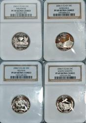 4 Diff State Quarters in NGC PF69 Ultra Cameo