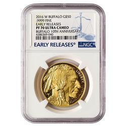 2016-W $50 PF70 Early Release Buffalo, NGC