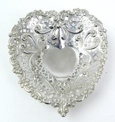 Ornate Gorham Sterling Heart Dish