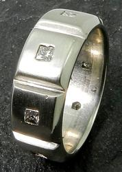 Man's Wide Platinum and Diamond Band