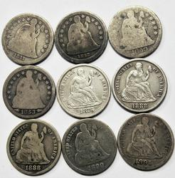 9 Seated Dimes  1841-91