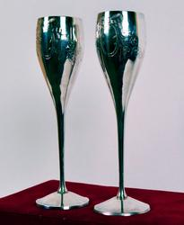 Pair of Wedding Silver Plated Toasting Champagne Flutes