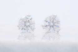 Platinum Double Prong Martini Diamond Stud Earrings