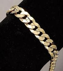 Man's Classic, Gold Plated, Curb Linked, Chain Bracelet