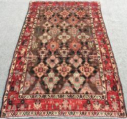 Unique Rare Design Mid-20th C. Handmade Vintage Persian Rug, Signed