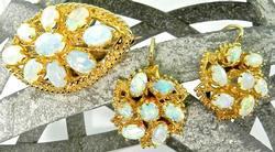 Opal Brooch and Earring Set