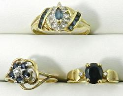 Group of 3 Sapphire, Diamond, & Gold Rings