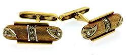 Vintage 18K Diamond Cuflinks