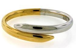 Wrap Around Two Tone Bangle Bracelet in 18K