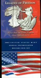 2003 Legacies of Freedom 2-pc & 2007 US 5-pc Dollar Set