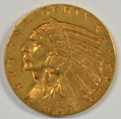 Very Pretty 1909-D US $5 Indian Gold Piece