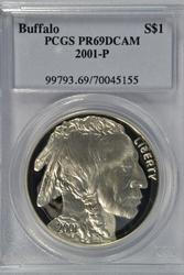 Deep Cameo 2001-P $1 PRF Buffalo Commem. PCGS PR69DCAM