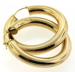 5.5 MM Gold Tube Hoop Earrings