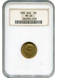 MS66 Russia 1902 5 Roubles Gold, NGC