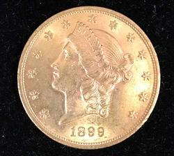 Excellent 1899 $20 Gold Double Eagle Liberty