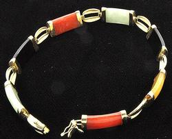 Vintage Multi Color Jade Bracelet in 14kt Gold