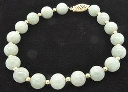 Light Green Jade Bracelet with 14K Gold Balls