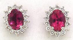Pink Tourmaline & Diamond Earrings