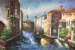 Captivating Luminous View of Venice Canal, Oil on Canvas