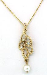 Freeform Pearl & Diamond Pendant Necklace