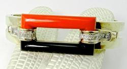 Art deco original Vintage Coral Bangle Bracelet