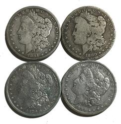 4 Raw  Morgans 1879 1880 1880O and 1884 S