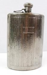 Vintage Hammered Silverplate Boot Flask