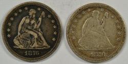 2 Razor-Sharp 1876-P Seated Liberty Quarters