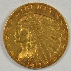 Lovely BU 1911-P US $2.50 Indian Gold Piece