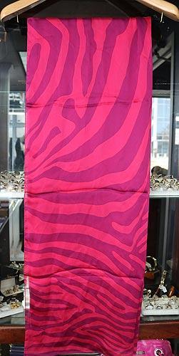 Jimmy Choo Long Pink & Purple Zebra Silk Scarf