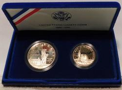 2 coin set:  1986 Proof Liberty Silver Dol & clad Half