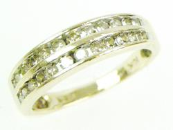 10K Two Row Band of Champagne Diamonds