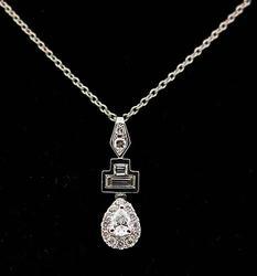 Multi Diamond Drop Pendant Necklace