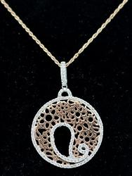 Lovely Two Tone Diamond Swirl Pendant Necklace