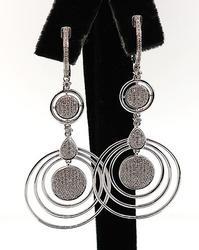 Pave Diamond Circle Earrings