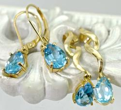 Two Pairs of Deep Blue Topaz Earrings