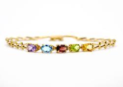 Elegant 14K Yellow Gold Multi Color Gemstone Bracelet